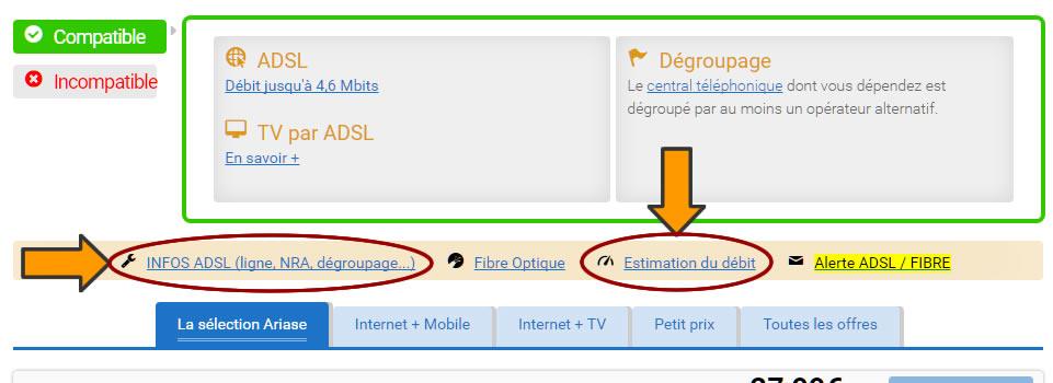 Ariase - Les liens permettant de récupérer les informations techniques pour votre ligne sur l'écran de départ